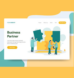 Landing page template business partner vector