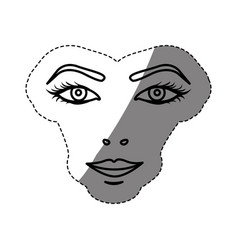monochrome contour sticker with female face vector image
