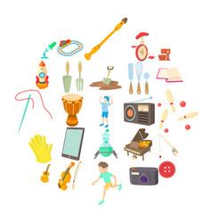 Musical hobby icons set cartoon style vector