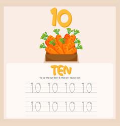 Number tene tracing worksheets vector