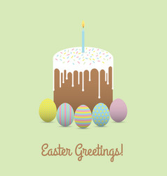 Painted eggs with easter cake easter greetings vector