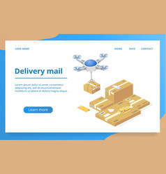 Parcels delivery with drone technology vector