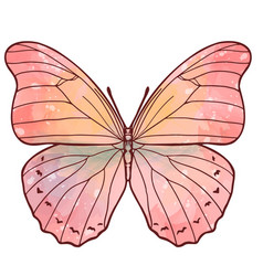 pink watercolor butterfly stained glass effect vector image