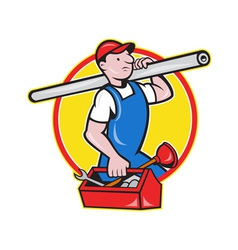 Plumber With Pipe Toolbox Cartoon vector image