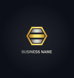 polygon line shape business gold logo vector image