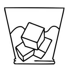 Quirky line drawing cartoon whisky and ice vector