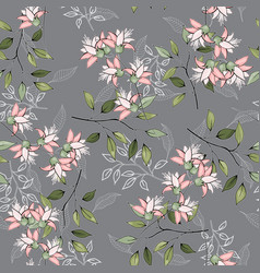Realistic isolated seamless flowers pattern vector