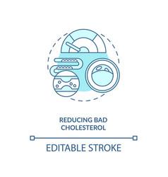 Reducing bad cholesterol blue concept icon vector