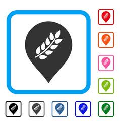 Rice plantation marker framed icon vector
