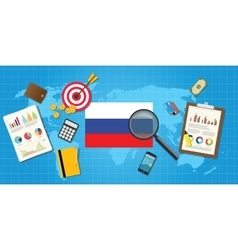 russia economy economic condition country with vector image