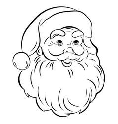 santa claus face portrait santa black white vector image