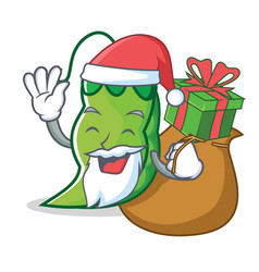 santa with gift peas mascot cartoon style vector image