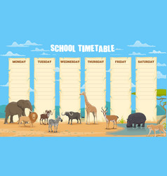 School timetable with african animals vector
