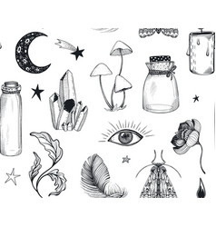Seamless pattern with hand drawn mystical vector