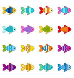 set cute fishes vector image