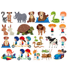 Set isolated objects theme children and animals vector