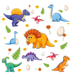 Set isolated various dinosaurs cartoon vector