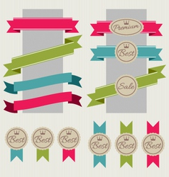 Set of stickers ribbons and banners vector image