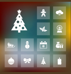 Set of winter icons simple christmas elements vector