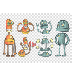 set with robots in outline style vector image