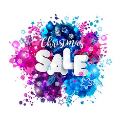 Signs christmas sale in paper style on multicolor vector image