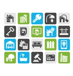 Silhouette real estate business icons vector