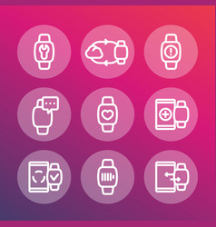smart watch line icons set vector image