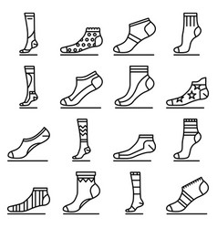 sock icon set outline style vector image