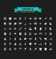 Sports glyph icon set vector