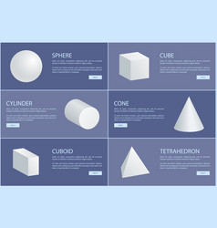 Square pyramid octahedron cylinder cone sphere 3d vector