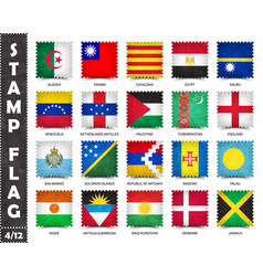 Stamp with official country flag set 4 12 vector
