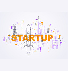 startup rockets take off space rockets flying vector image