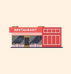 Street restaurant building vector