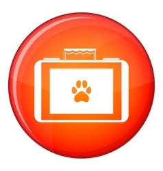 Suitcase for animals icon flat style vector