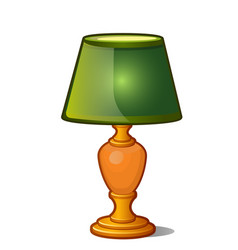 Table lamp with green shade in vintage style vector