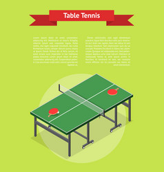 Table tennis game banner card isometric view vector