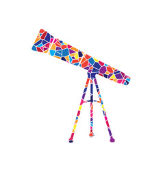 telescope simple sign stained glass icon vector image