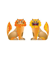 Traditional pair figures shisa from okinawa vector
