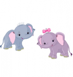 Two babies elephants vector