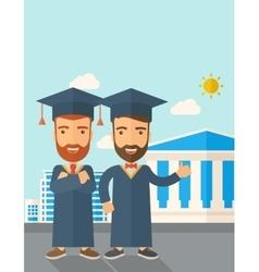 Two men wearing graduation cap vector