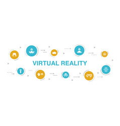 Virtual reality infographic 10 steps circle design vector