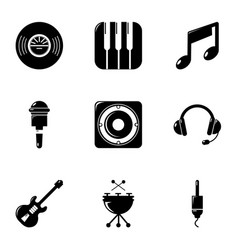 Voice recording icons set simple style vector
