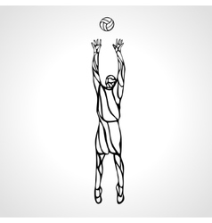 Volleyball setter player outline silhouette vector