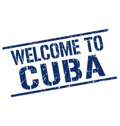 Welcome to cuba stamp vector