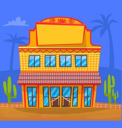 Yellow building in town facade exterior design vector