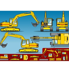 Yellow Excavator in Five Orthogonal Position vector