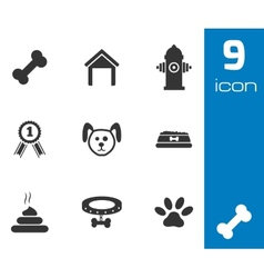black dog icons set vector image vector image
