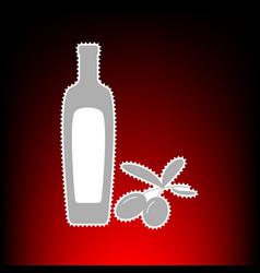 black olives branch with olive oil bottle sign vector image
