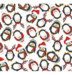 Christmas Background with penguins vector image vector image