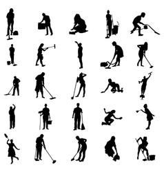 Cleaning in house silhouettes set vector